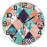 Reloj de pared Flamingo Tropical Palm Reloj acrílico redondo Negro Números grandes Reloj silencioso sin tictac Pintura decorativa Reloj con pilas para la biblioteca del hotel de la escuela electrónica