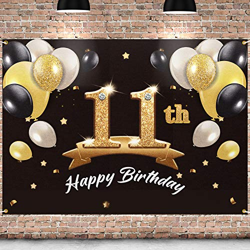 PAKBOOM Happy 11th Birthday Banner Backdrop - 11 Birthday Party Decorations Supplies for Boy- Black Gold 4 x 6ft
