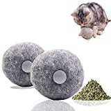 LUFFWELL Catnip Ball, 2 Pack Refillable and Replaceable Natural Plush Wool Catnip Toys for Cat Addictive Interactive Cat Mint Toy Chew Toys for Kitten with Catnip, A Pack of Catnip as Gift