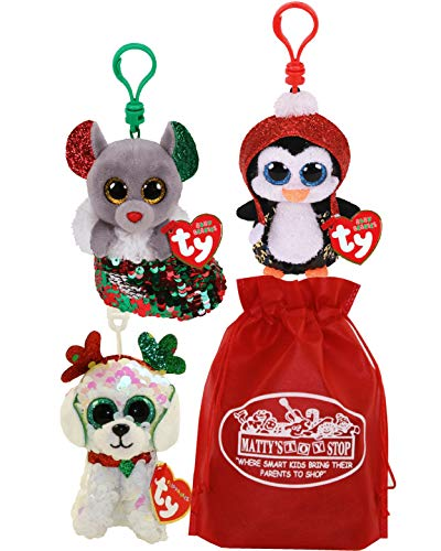 """Ty Beanie Boos Sequin Flippables Clips (4"""") Sugar (Dog), Gale (Penguin) & Chipper (Mouse) Christmas Set Bundle with Matty's Toy Stop Storage Bag - 3 Pack"""
