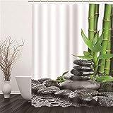 Ommda Duschvorhang Textil 3D Stein & Bambus Digitaldruck Waschbar Wasserdicht Duschvorhang Antischimmel Bunt mit Duschvorhang Ring,200x180cm (B x H)