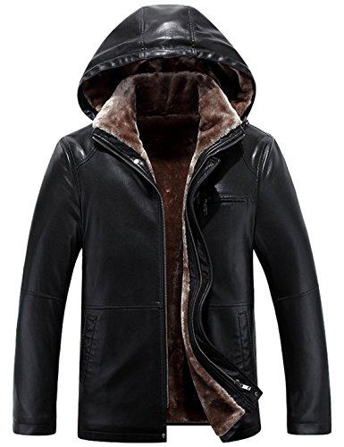Tanming Men's Winter Warm Leather Coat Real Fur Hooded Leather Jacket (X-Large, 0-112Black)