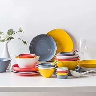 YANJ Ensemble de Vaisselle en céramique avec 42 pièces, Bol/Plat/cuillère   Ensembles de dîner à Texture Mate, Assiettes d...