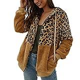 WARMWORD Chaqueta Mujer Invierno Rebajas Abrigos de Mujer Leopardo Costuras Parkas Mujer Suelta Jers...