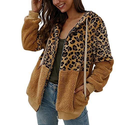 MIS1950s Fashion Women's Zip Up Faux Shearling Shaggy Coat Jacket Leopard Print Patchwork Hoodie Winter Warm Cardigan