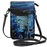 ZZKKO Van Gogh Sugar Skull Mini Crossbody Bolso de hombro para teléfono móvil, bolso de mano de piel para mujer, casual, viaje, senderismo, camping, uso diario