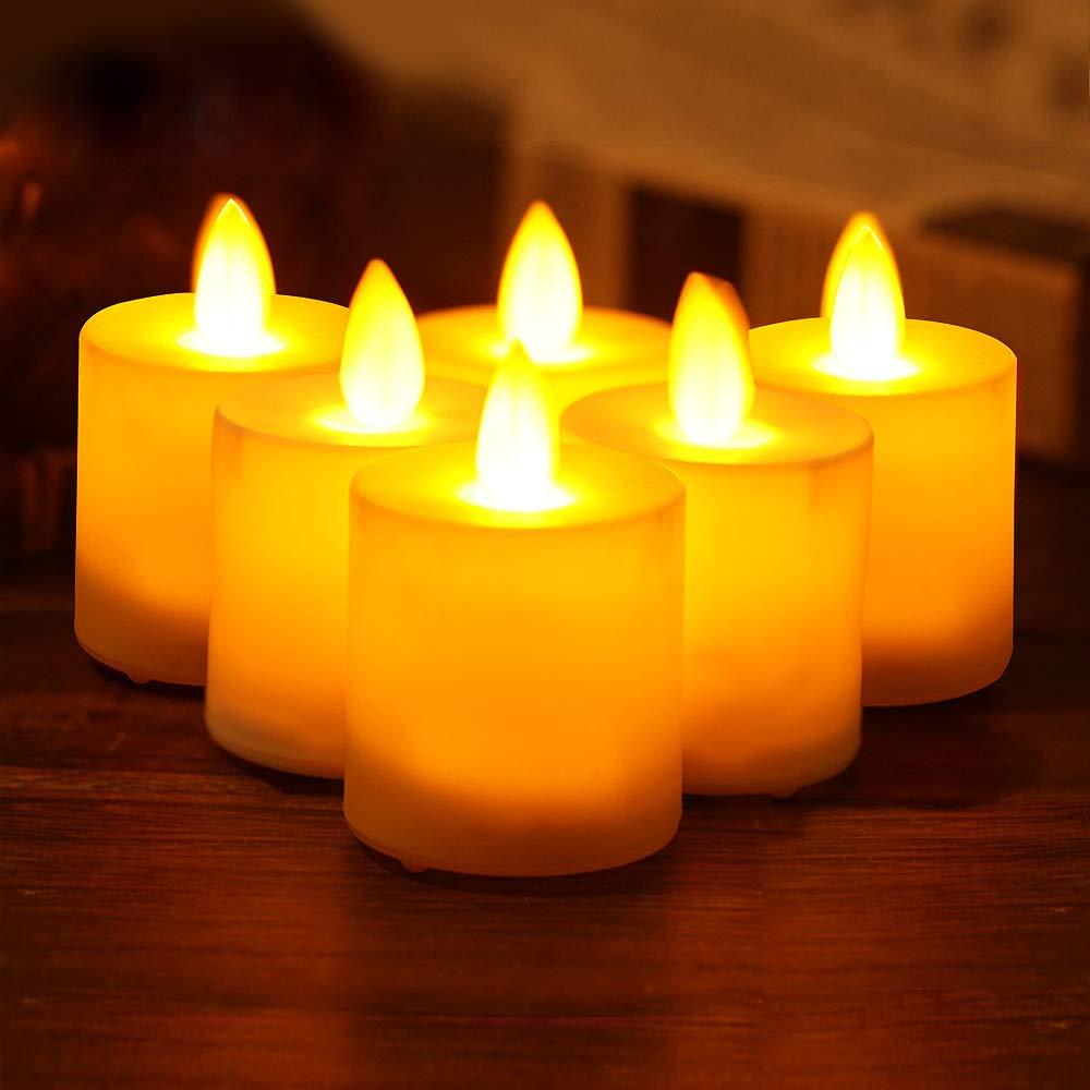 SPECOOL Velas de t/é con velas LED con velas sin llama 24 paquetes y bolsas de papel blanco para velas funciona con pilas