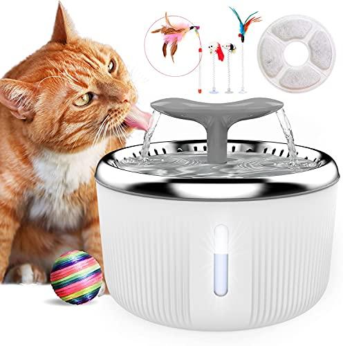 PewinGo Katzen Trinkbrunnen Edelstahl, Trinkbrunnen für Hunde Haustier Katzenbrunne rutschfest Automatisch Katze Wasserspender mit LED Nachtlicht, 4 Spielzeug and 1 Aktivkohlefilter - 2L