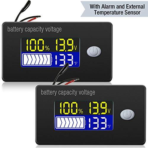 2 Pieces Battery Capacity Voltage Meter with Alarm and External Temperature Sensor 0  179 ℉ Temperature Monitor 12V 24V 36V 48V 60V 72V Lead Acid Battery Lithium Battery Gauge Meter for Most Cars