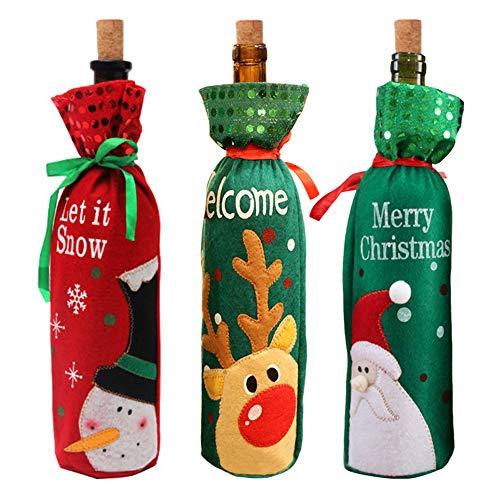 Vidillo Weinbeutel 3 Stück Weihnachten Weinflaschen-Geschenktüten Flaschenverpackung mit Kordelzug Taschen Beutel Geschenkpapier für Weihnachtsfeier Festival Dinner Party Tischdekoration