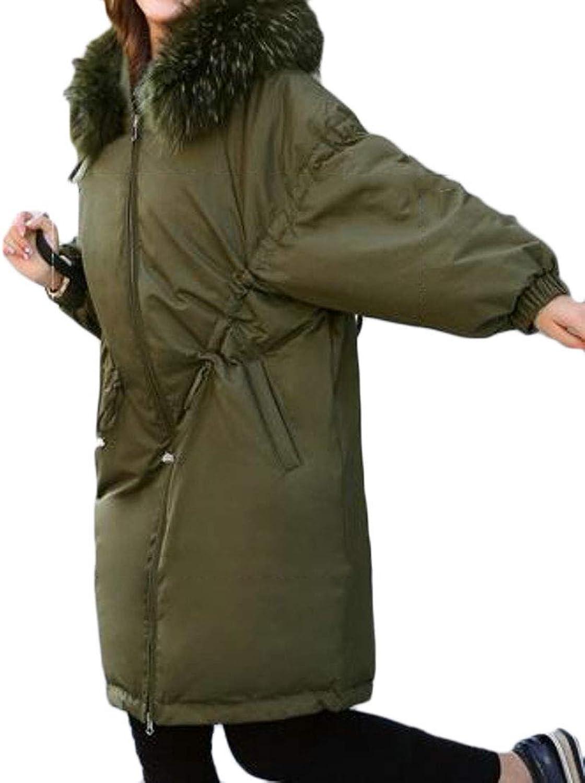 Joe Wenko Women's Parkas Hood Winter Raglan Sleeve Faux Fur Collar Boyfriend Down Coats