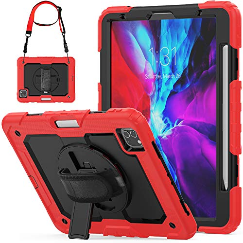 SEYMCY Case for iPad Pro 11 inch 2nd & 1st Generation 2020/2018 Release, [360 Degree Rotatable Hand Strap] Sturdy Shockproof Stand Pro 11 Case, Support 2nd Gen iPad Pencil Wireless Charging, Black/Red