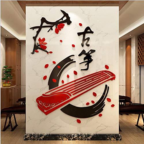 Layyyqx Guzheng Klassikale Decoratie 3D Acryl Kinderpaleis Muursticker Klassieke Muziekinstrument Piano Muursticker 800X1053Mm