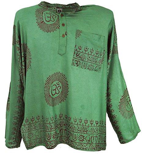Guru-Shop Indisches Mantra Shirt, Goa Hippie Hemd, Herren, Olive, Synthetisch, Size:S, Hemden Alternative Bekleidung