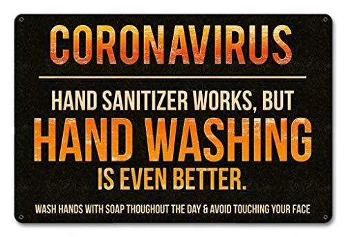 Coronavirus Hand Washing Tin Signs Vintage Decor for Bars,Diner,Cafes Pubs Garage Home Wall Art Poster Metal Plaques 11.8x7.9 Inch