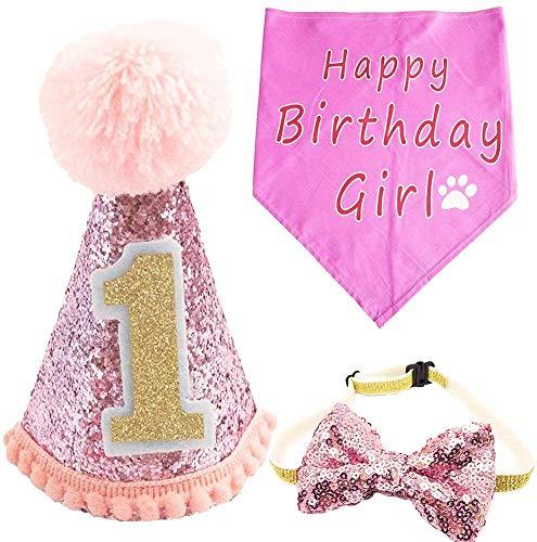 BIPY Hond 1e Verjaardag Hoed Bandanas Set voor Meisjes Kleine Medium Grote Honden Katten Kostuums Hoofddeksels, Roze B
