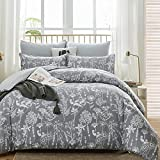 WURUIBO Grey Floral Duvet Cover King Size, White Botanical Flowers Duvet Cover Set, All Season Soft Premium Microfiber Comforter Cover with Zipper Closure and Corner Ties(Grey,King)