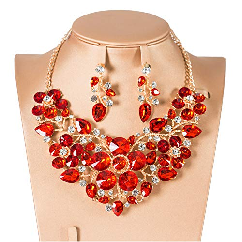 N \ A 5 Colors Trendy Bridal Jewelry Necklace and Earrings Crystal Jewelry...