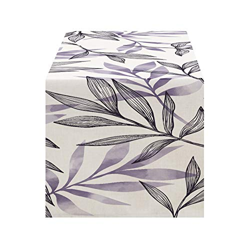 Idyllic Plant Watercolor Painting Table Runner, Home Fabric 30x180cm