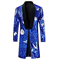 Blue - Silver Slim Fit Shiny Sequin Blazer