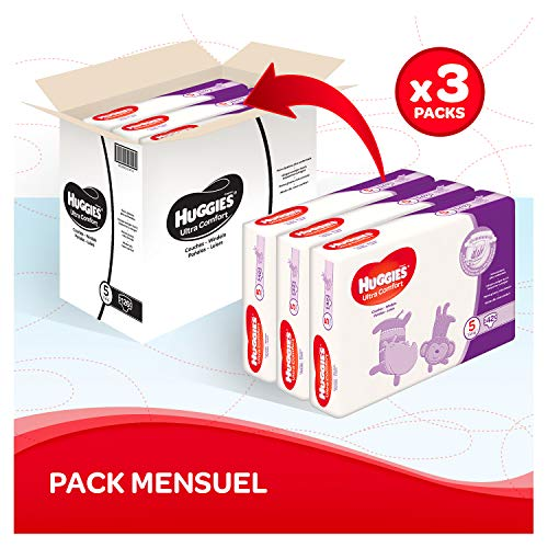 Huggies - Ultra Comfort - Couches Bébé Unisexe - Taille 5 (11-25 kg) x126 Couches - Pack 1 Mois