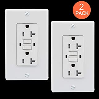 GUKIBO 2 Pack GFCI Outlet Tamper-Resistant Receptacle with 2 LED Indicators, UL-listed 20A GFCI Self Test Receptacle Outlet, Ground Fault Circuit Interrupter with Auto-Test Function