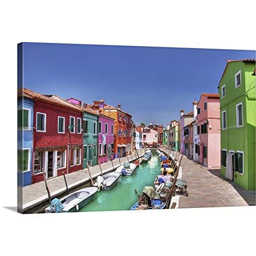 "Burano Island, Italy Canvas Wall Art Print, 36""x24""x1.25"""