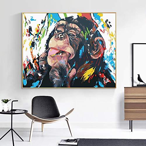 Impresión en lienzo Cute Monkey Wall graffiti Art Canvas Painting Animal abstracto Pop Art Canvas Prints para Decor de la habitación de los niños Sin marco 30x40cm Sin marco
