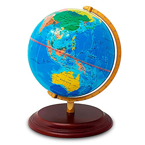 """World Globe with Strong, Heavy Duty Stand – 9"""" Antique Finish Desktop Earth – Decorative and Educational for Kids"""