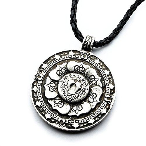 Miss - E - Jewels TM Halskette mit Blumen-Mandala-Anhänger, antikes Silber, verziert, für Damen und Herren, tibetisch, buddhistisch, spirituell, nordisches Runen-Amulett, Talisman
