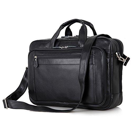 UBaymax Leder Aktentasche Laptoptasche Herren, Vintage Ledertasche Businesstasche für bis 17 Zoll Laptop, Klassische Echt-Leder Schultertasche Arbeitstasche Messenger Tasche, Schwarz