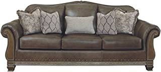 Signature Design by Ashley - Malacara Faux Leather Sofa, Quarry