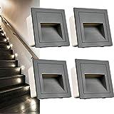 Arote Juego de 4 Aplique empotrable de pared LED de 3W, IP65 Blanco frio Luces de escalera, Aluminio, Iluminación y Luces decorativas Gris