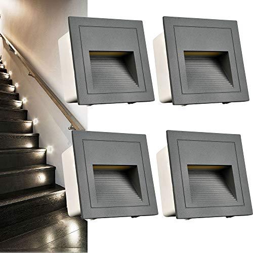Arotelicht - Juego de 4 focos led empotrables de 3 W para escaleras, iluminación exterior, aluminio, 230 V, luz blanca fría, 6000 K, IP65, color gris, incluye lata