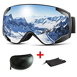 Extra Mile ski goggles, snowboard goggles for men and women, snowboard goggles mirrored anti-fog, ski goggles for glasses wearers, snowboard glasses OTG UV protection for men, women and teenagers