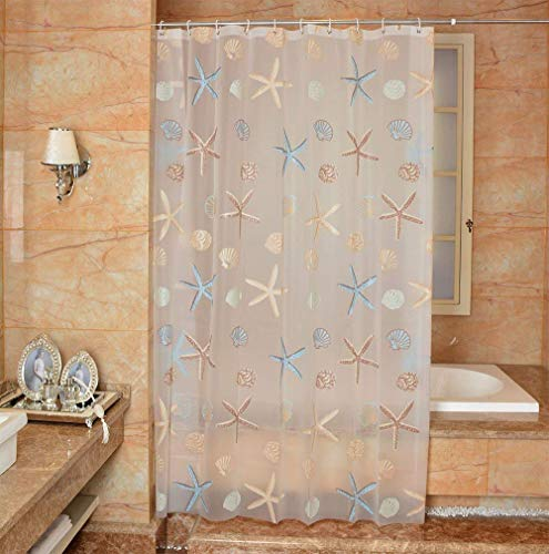 Ufatansy Uforme Sea Star Theme Pattern Shower Curtain Liner Waterproof, 100% Eco-Friendly PEVA Bathroom Curtian Stain Resistant with Rustproof Metal Grommets, Standard Size (72Wx72L)