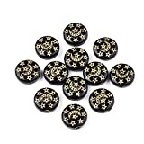Craftdady 100Pcs Black Acrylic Flat Round Spacer Beads with Star Moon Pattern Opaque Metal Enlaced Plastic Rondelle Coin Loose Beads for Bracelet Necklace Jewelry Making Hole: 1.5mm