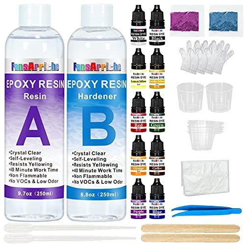 Kit de résine époxy transparente non toxique 500 ml, avec colorant de résine, paillettes, revêtement en résine moulée, pour bois, artisanat d'art, fabrication de bijoux