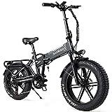 SAMEBIKE Bicicleta Electrica Montaña de 20 Pulgadas 500 W, Bicicleta Eléctrica Plegable con Batería de 48 V 10AH, Neumático Gordo Bicicleta de Montaña para Adultos, Velocidad Máxima de 35 km/h (negro)