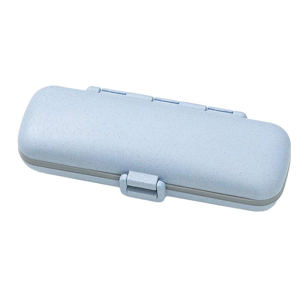 プレゼント取り組む耐えられないHealifty ポータブルピルボックスミニ薬ピル収納ボックスプラスチックピルオーガナイザー(ブルー)