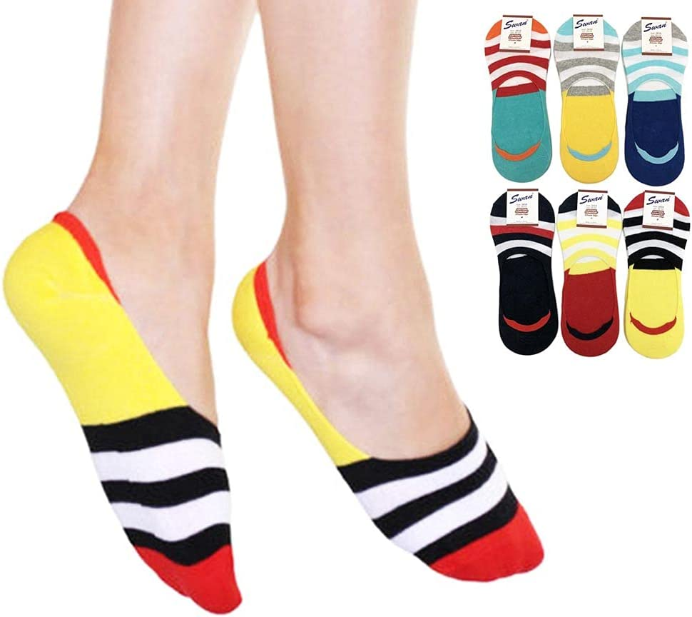 6 Pairs Womens No New item Show Invisible Foot Sale price Unisex Liner Nonslip Socks
