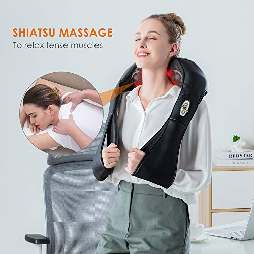 Shiatsu Neck and Shoulder Massager - Back Massager with Heat, Deep Kneading Electric Massage Pillow, Massagers for Back and Neck Shoulder,Foot