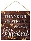 GiftWrap Etc. Thankful Grateful & Truly Blessed Sign - 12' x 12', Wooden Christmas Decoration, Brown Vintage Front Door Decor, Wreath, Home, Kitchen, Farmhouse