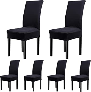CosyVie Super Fit Universal Stretch Covers, Removable Washable Slipcovers for Dining Room Chairs 6 Pcs/Pack (Classical Black)