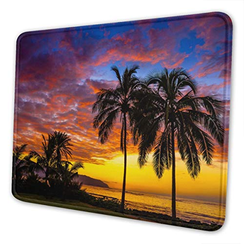 Tropical Sunshine Beach Coast Sea Palm Trees Design Gaming Mouse Pad Mat Mousepad Desk Pad Non-Slip Rubber Gaming Mousepad Rectangle Mouse Pads for Computers Laptop Rubber Mice Pads Stitched Edges