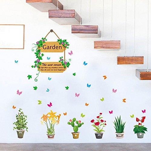 Muurstickers Stickers Plant Bloem Potted Trappenkast raamdecoratie Schilderij Slaapkamer Woonkamer Waterdichte Sticker Muursticker