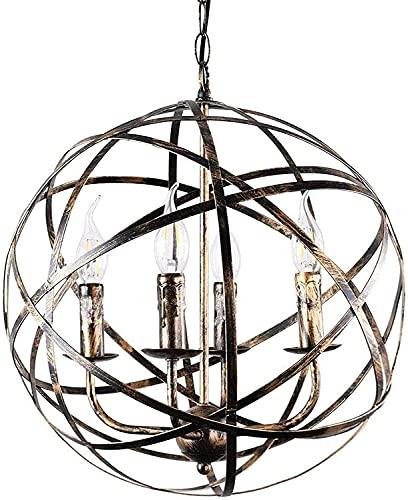 MAZ Lámpara colgante industrial del globo de 15.75 pulgadas, lámpara esférica rústica ligera de la vela de la sombra del hierro forjado 4