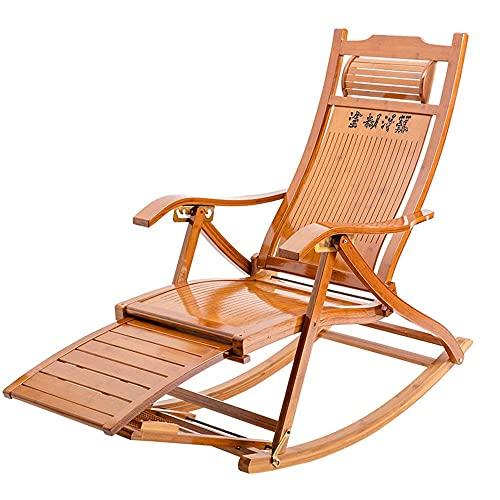 ZHANGYY Patio Lounge Chairs 3-in-1 Holz Schaukelstühle/Adirondack Stuhl Klappbar mit 6 Positionen verstellbaren Sonnenliegen Stühlen & Liegen Outdoor Klapp Rocker aus Bambus, mit Armlehn
