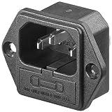 Conector alimentacion C14 AC con Fusible Macho Negro, Cablepelado®