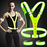 Arovina Led Reflective Vest, High Visibility Led Reflective Safety Vest Running Lights for Runners, Suitable for Running, Camping, Dog Walking, Hiking, Jogging (With 2pcs Armband and 4pcs Batteries)